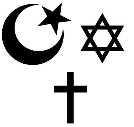 Halvmånen, Davdsstjärnan och korset. Symbolerna står för de tre religionerna Islam, Judendom och Kristendom.