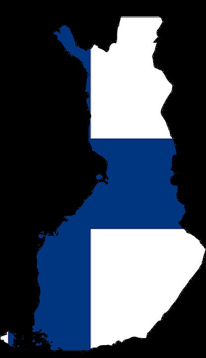 En karta av Finland med Finlands flagga inuti