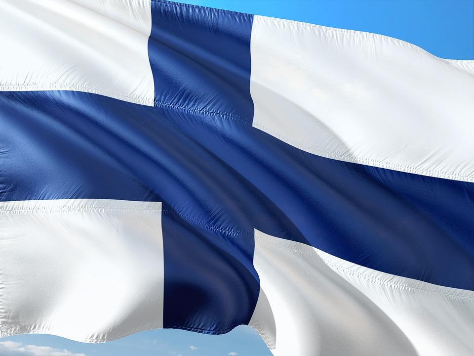 Finlands flagga i blått och vitt