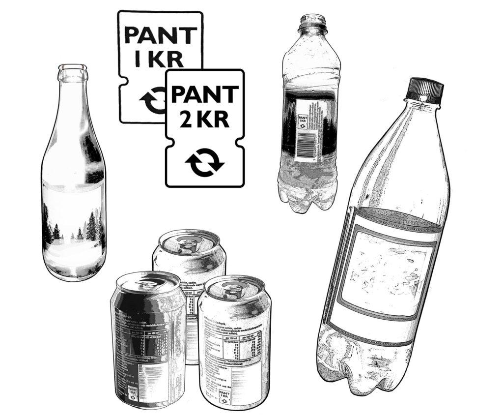 Olika sorters flaskor och brukar som går att panta. En glasflaska, tre aluminiumburkar och två plastflaskor, tecknade i svartvitt. På bilden finns också symbolerna för att förpackningen går att panta, en etikett med pilar som föreställer ett kretslopp.