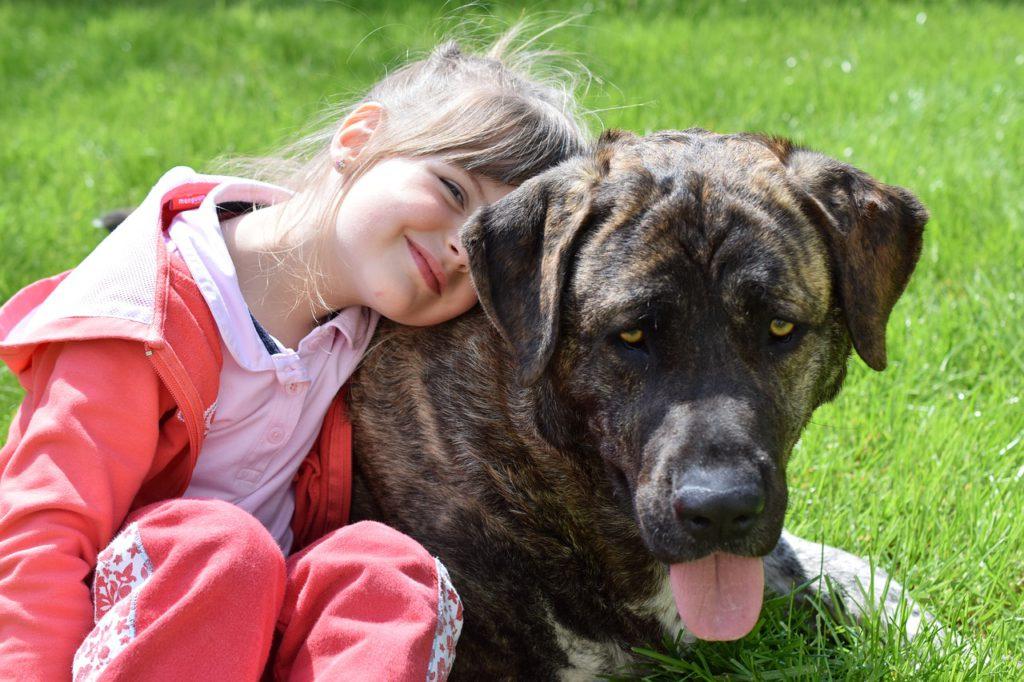 En liten tjej och en brun hund