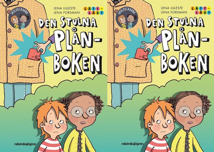 Omslaget på boken gånger två. På omslaget syns en kille med rött hår och en tjej med mörkt hår i i tofsar och med glasögon. Det syns också en person med en stor jacka där en hand sträcker sig ner i fickan och tar en plånbok.