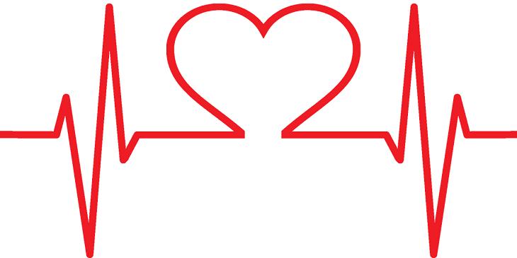 En röd lodrät linje. Linjen går upp och ner i toppar och dalar. I mitten formar linjen ett hjärta.