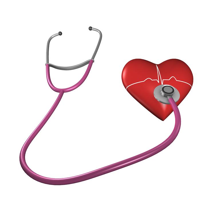 Ett stetoskop ligger mot ett rött hjärta.
