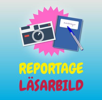 Illustration av en kamera och ett anteckningsblock. Under syns texten: Reportage, läsarbild