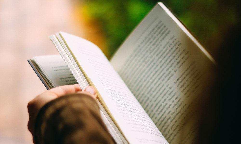 En hand som håller i en bok.