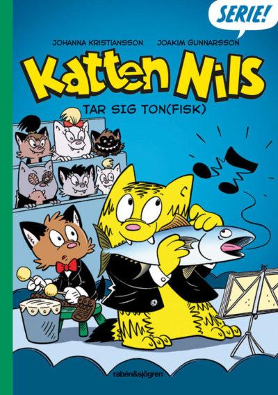 Bokens omslag som är tecknat, med en gul katt som äter en fisk.