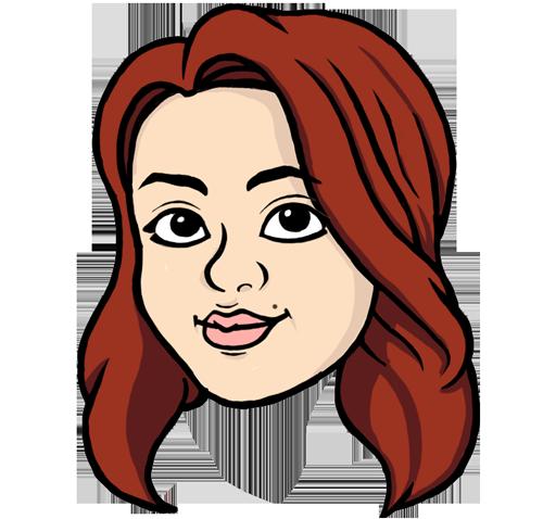 Kimmy POWER som en tecknad figur.
