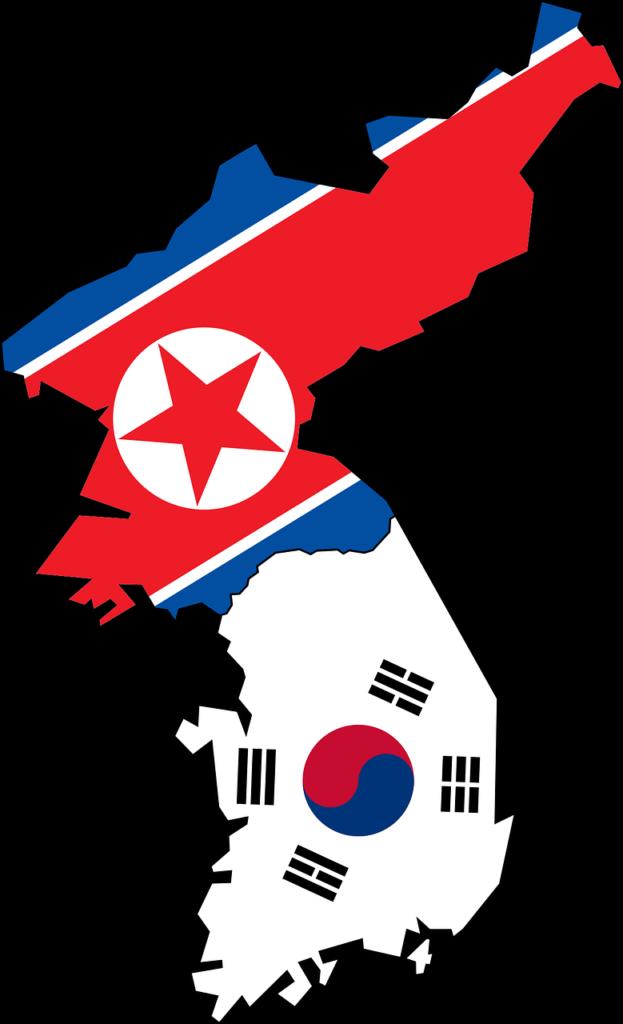 En karta som visar gränserna mellan Nord- och Sydkorea med deras flaggor