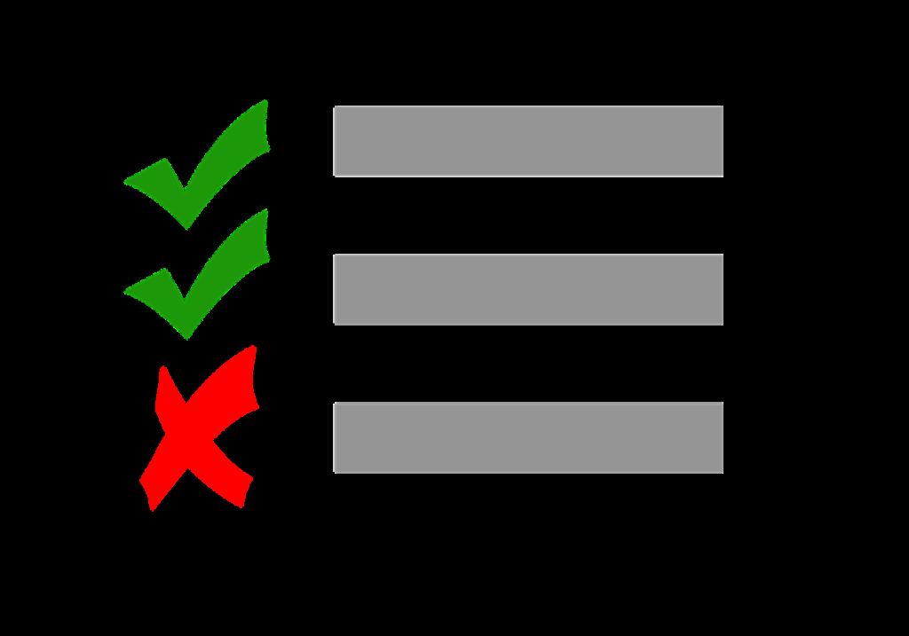 En checklista med tre rader. Framför två av raderna är det gröna bockar. Framför den tredje är det ett rött kryss.