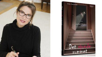 Två ihopsatta bilder. Bilden till vänster är Erika. Hon har en svart tröja med polokrage, långt hår i hästsvans, svarta stora glasögon och läppstift. I handen håller hon en bok och en penna och hon tittar in i kameran. Till höger syns en bild på omslaget till boken. Det är mörkt och mystiskt med en trappa i halvskugga.