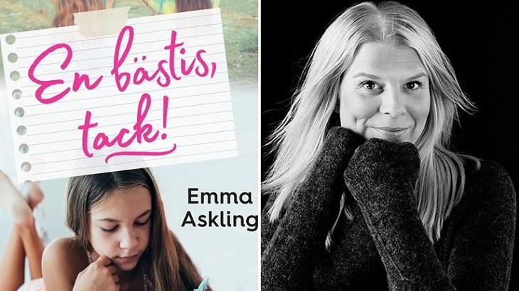 Till vänster syns bokens omslag. Titeln står i rosa, snirkliga bokstäver och under är en bild på en tjej som ligger på mage och läser. Till höger är det en bild på författaren. Hon har långt blont hår och en svart tröja.
