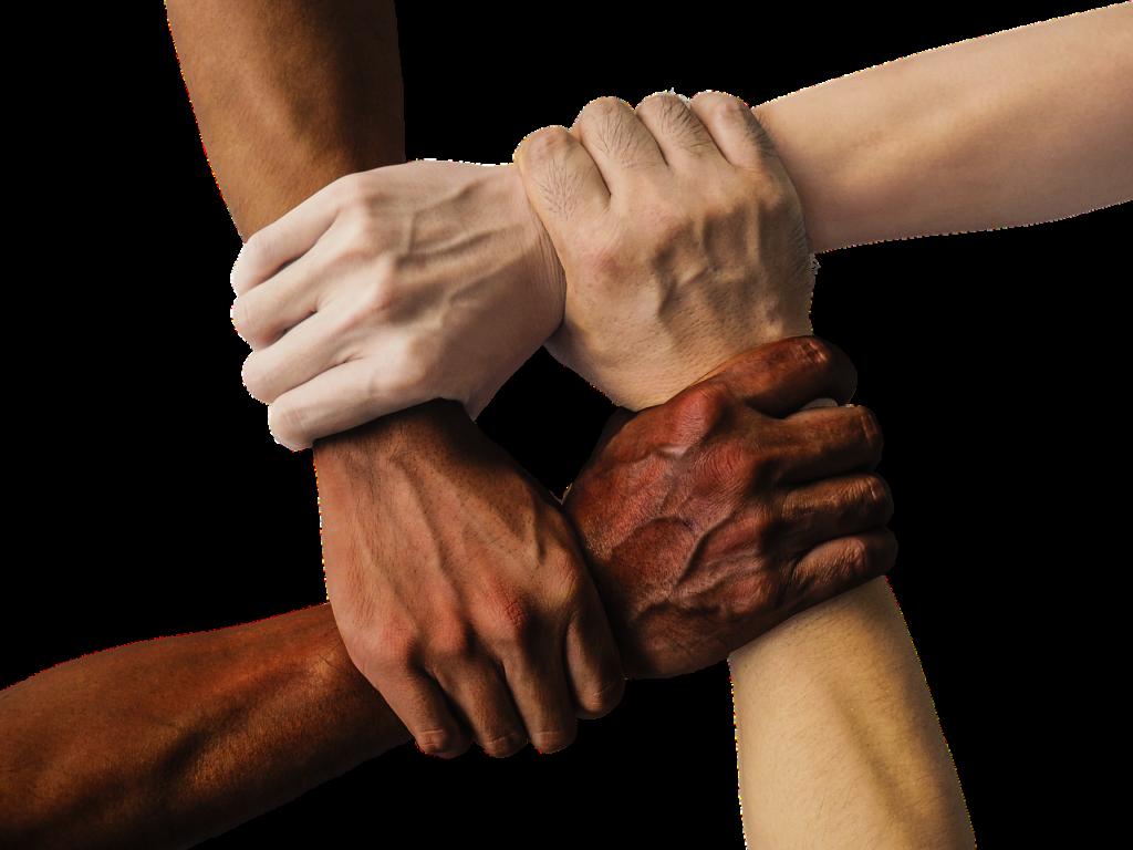 Fyra händer håller i varandras handleder så det ser ut som en ruta. Alla har olika hudfärg.