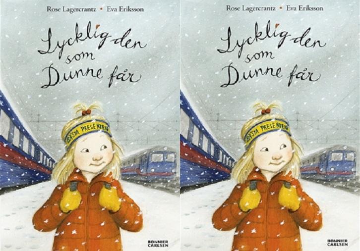 Omslaget till boken. På omslaget står ett barn med röd jacka, gult pannband och långt blont hår. I bakgrunden syns röda och blå tåg.