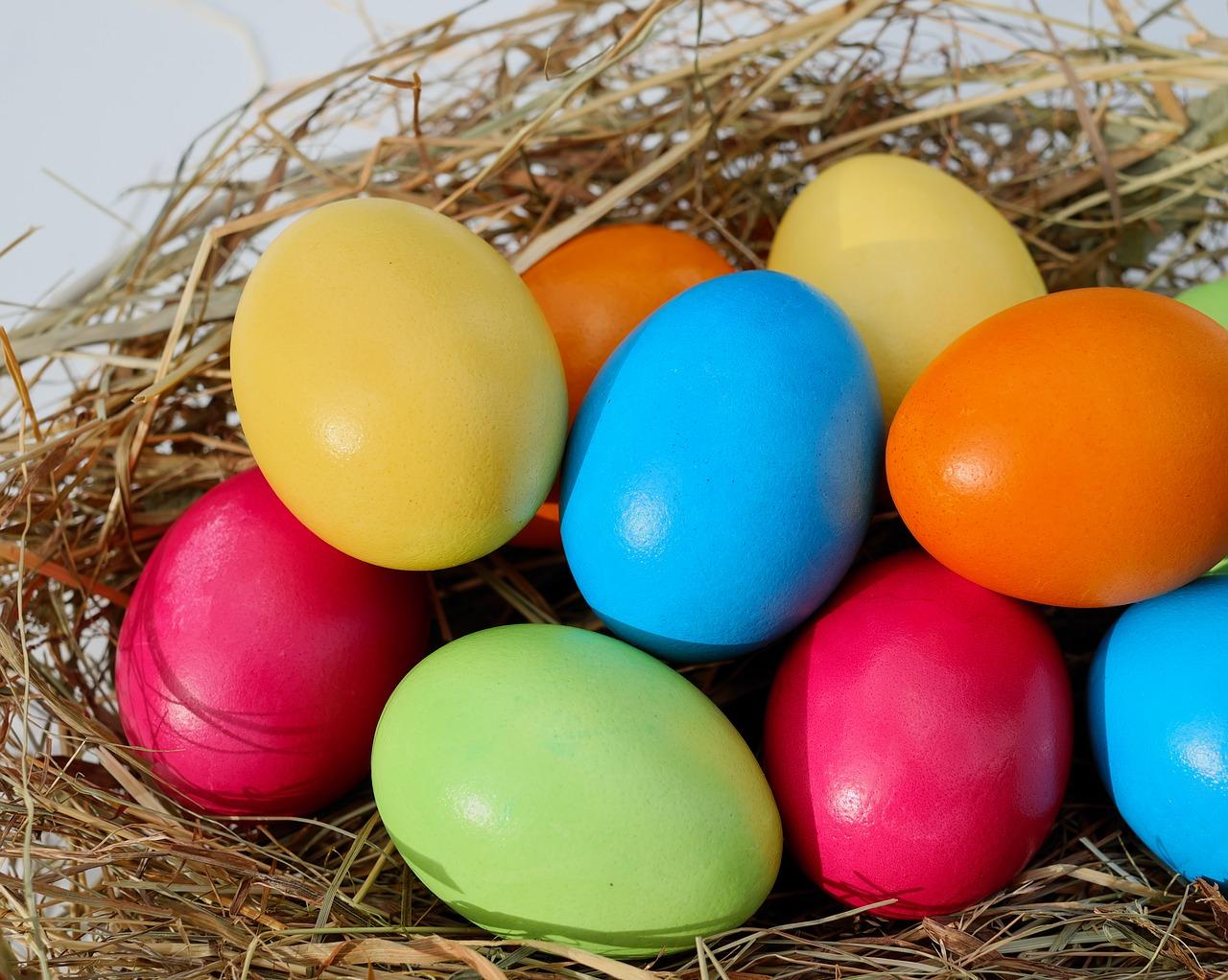 Ägg i olika färger.
