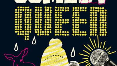 Bild på bokens omslag. Titeln står i stora bokstäver och under sitter en person och drar ner en mössa över ögonen. Det är också flera rosa ritade kaniner på omslaget.