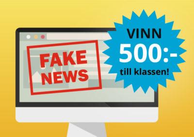 """Illustration av en datorskärm mot en orange bakgrund. Texten """"Fake News"""" skriven med röda bokstäver samt texten """"Vinn 500 kronor till klassen"""" i en blå stjärna."""