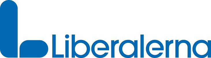 """Liberalernas logga. Till vänster står ett stort blått L med mjuka kanter. Till höger står """"Liberalerna"""" med blå bokstäver."""