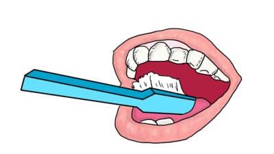 En ritad mun gapar stort. Tänderna syns tydligt. En stor blå tandborste borstar tänderna.