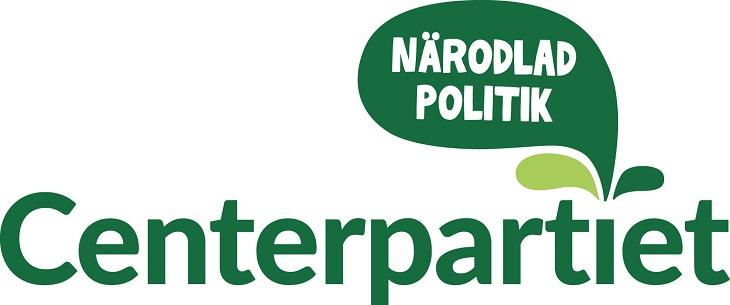 """Centerpartiets logga. Det står Centerpartiet med gröna bokstäver. Ur pricken över i:et kommer en grön pratbubbla där det står """"närodlad politik""""."""