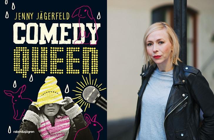 Till vänster är en bild på bokens omslag. Titeln står i stora bokstäver och under sitter en person och drar ner en mössa över ögonen. Det är också flera rosa ritade kaniner på omslaget. Till höger är det en bild på författaren. Hon står framför en lyktstolpe. Hon har en skinnjacka, rött läppstift och halvlångt hår.