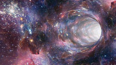 Animerad bild på ett maskhål i rymden.