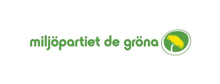 """Miljöpartiets logga. Det står """"miljöpartiet de gröna"""" med gröna mjuka bokstäver. Till höger om texten är en gul maskros i en grön cirkel."""