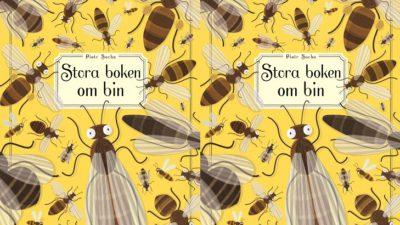 En bild på bokens omslag. Omslaget är gult med fullt av teckande bin. Bina ser olika ut, en del är randiga och andra är helbruna. Några är tjocka och några är smala. Alla har tunna vingar och långa antenner.