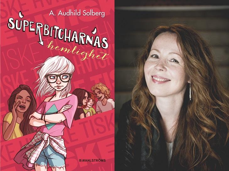 Två bilder. Den vänstra är bokens omslag, som är rött med text skrivet på olika håll. I mitten står en person med långt vitt hår, stora glasögon, korta jeansshorts och en skjorta knuten runt höfterna. Bilden till höger föreställer författaren. Hon har långt lockigt hår, fräknar och ler stort mot kameran.