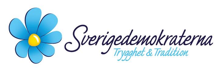 """Sverigedemokraternas logga. Till vänster är det en blå blomma med gult i mitten. Bredvid till höger står det Sverigedemokraterna med snirkliga bokstäver. Under står det """"Trygghet och tradition""""."""