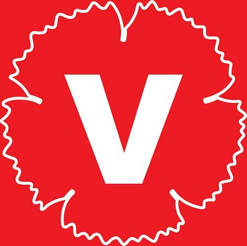 Vänsterpartiets logga. Bilden är helfärgad i rött, men i mitten står ett stort V i vitt. Runt v:et är konturen av en blomma med taggiga kanter.