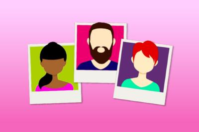 Tre illustrerade porträttfoton mot en rosa bakgrund.