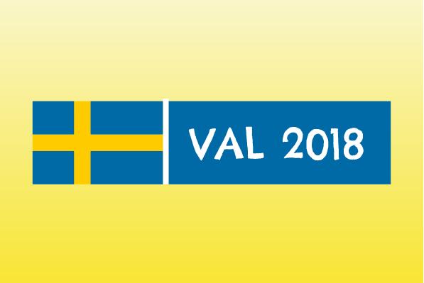 Val 2018. Sveriges flagga mot en gul bakgrund.