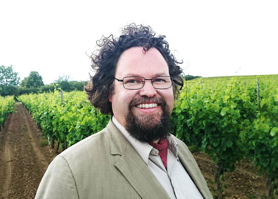 Edward Blom står på ett fält med vinrankor.