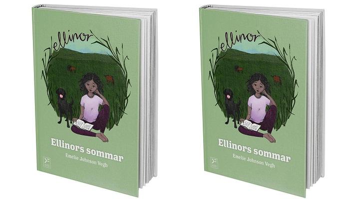 Bild av boken som står på högkant. Ellinor sitter på en äng med gräs med en bok uppslagen i knät. Bredvid står en liten hund med tungan som hänger ut.