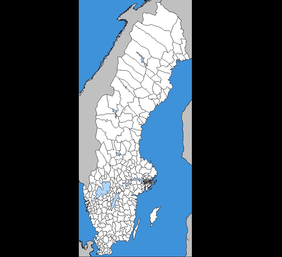 En karta över Sverige där alla kommuner är utritade.