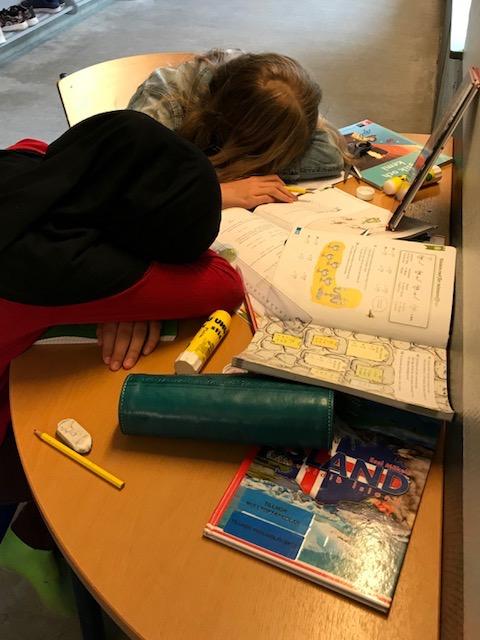 Två barn som ligger och sover på skrivbordet bland flera läxböcker.