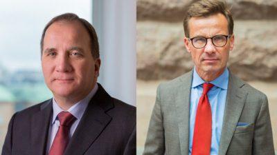 Till vänster en bild av Stefan Löfven. Han har kostym och slips. Han har ganska tunr hår, en ganska bred näsa och smala läppar. Till höger en bild på Ulf Kristersson. Han har kavaj, slips och runda glasöon. Han är ganska smal och har kort hår.
