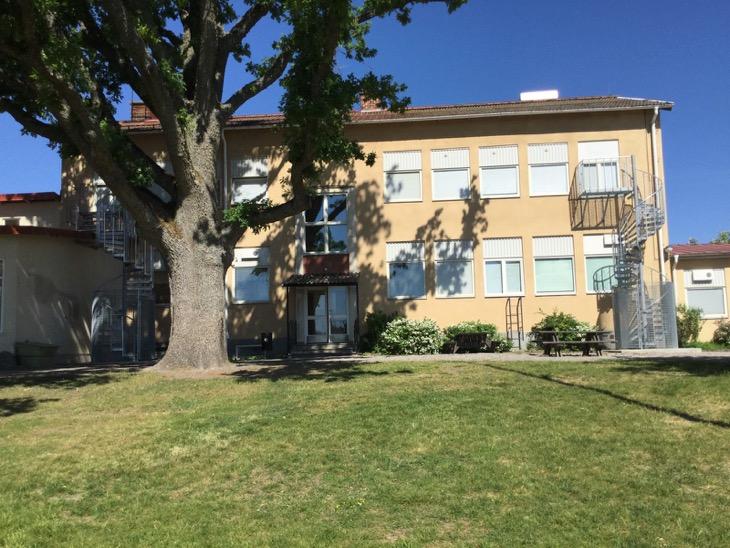 Bild på skolbyggnad bakom ett träd. En gräsmatta i förgrunden.