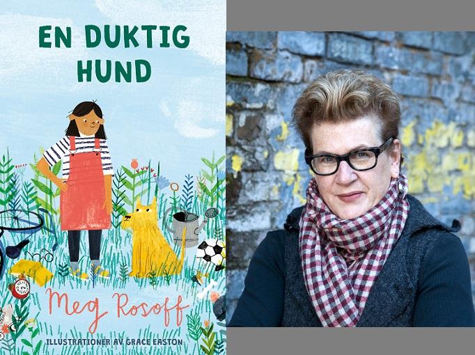 En bild på omslaget och en på författaren. Omslaget är ritat och föreställer ett barn i hängslekjol som står bredvid en halvstor hund i en vildvuxen trädgård. Författaren har kort halvblont hår som ligger bakåt och galsögon med kraftiga ramar. Hon har jacka och en stor rutig sjal.