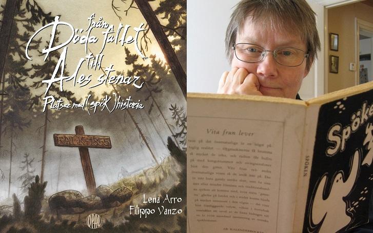 """En bild på bokens omslag och en på författaren. Bokomslaget har en ritad bild av en skog med många långa och mörka träd. Skogen är fylld av dimma och ser mystisk ut. Mitt i skogen står ett stort träkors där det står """"Falk 1855"""". Bilden på författaren föreställer Lena som sitter och läser en bok om spöken. Hon har kort hår och glasögon."""