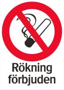 """Illustrerad förbjudet-skylt för rökning med texten """"Rökning förbjuden""""."""