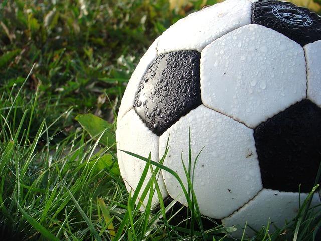 Närbild på en fotboll i gräset.