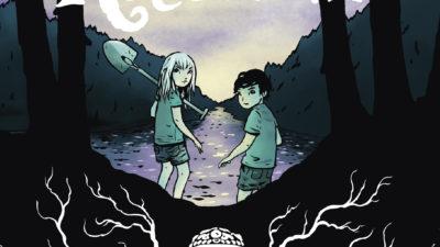 Mimmi och Henry i skogen. Mimmi håller i en spade.