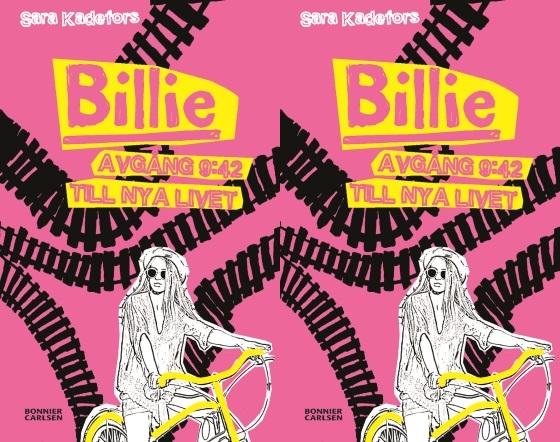Billie på en cykel med tågspår i bakgrunden.
