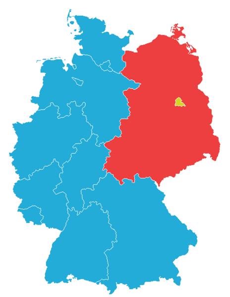 En karta på hur Tyskland var uppdelat i Östtyskland och Västtyskland