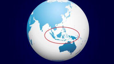 Jordklotet från vinkeln så att Indonesien syns. Indonesien är inringat med en röd cirkel.