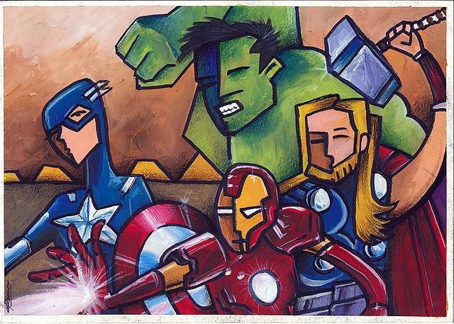 Målad bild av fyra superhjältar.