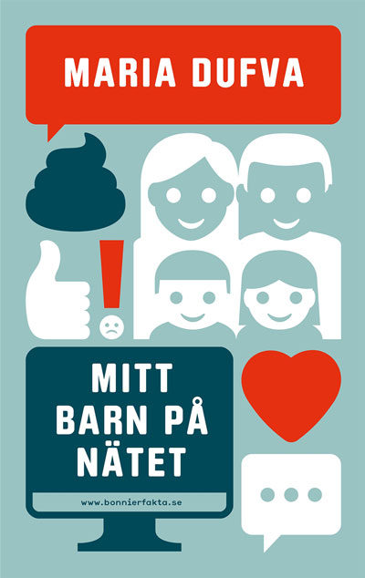 Bokens omslag visar olika symboler, bland annat en familj, ett hjärta och en dator.