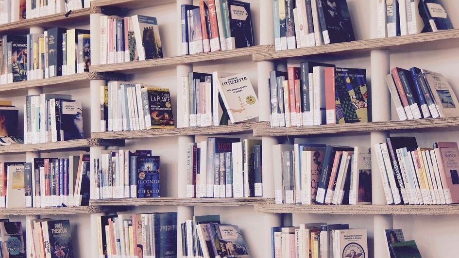 En bokhylla fylld med böcker